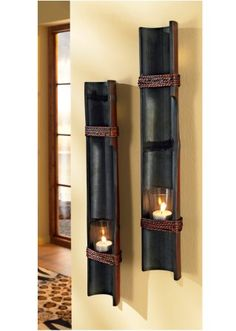 Bamboo poles repurposed to hold tea lights. Beautiful way to illumiate your hallway Craft Room Lighting, Bamboo Light, Bamboo Lamps, Bamboo Poles, Bamboo Architecture, Bamboo Furniture, Living Furniture, Repurposed Furniture, Bamboo Crafts