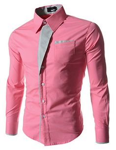 (N320-PINK) Mens premium Stripe Patch Fitted Dress Shirts