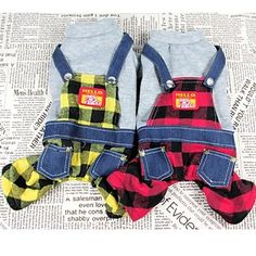 Cotton Plaid Four Legs Overalls for Dogs and Pets (assorted colours ,size) 2015 – $19.49