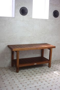 "Aqua Teak - The Original 36"" Spa™™ Teak Shower Bench with Shelf, $249.95 (http://www.aquateak.com/shower-benches-stools-by-size/the-original-36-spa-teak-shower-bench-with-shelf/)"