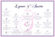 Wedding Seating Template by Charming Paper Shop $50
