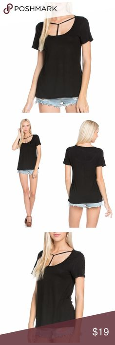 Black T-Strap Short Sleeve Top Black jersey top with short sleeves and t-strap front neckline. EVIEcarche Tops