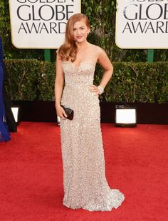 Isla Fisher in a stunning gold beaded Reem Acra gown at the Golden Globes 2013