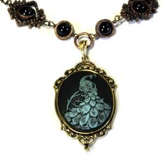 Steampunk Goth Jewelry - Necklace - Peacock Cameo