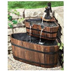 CASTLECREEK Double Barrel Fountain, a soothing oasis for your garden! An old-fashioned-look wooden Fountain with easy modern function. A super value from CASTLECREEK.