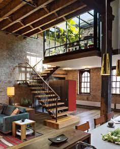 "3,634 Likes, 48 Comments - Aidan Anderson (@thelocalproject) on Instagram: ""The timbered Tribeca Loft designed by Andrew Franz 💭 beautiful raw brick, industrial warehouse…"""