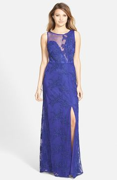 Hailey by Adrianna Papell Embroidered Mesh Illusion Gown available at #Nordstrom