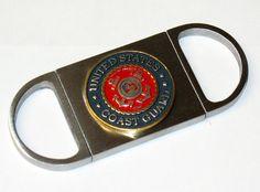 US Coast Guard Emblem Exact-Cut Dual Blade Stainless Guillotine Cigar Cutter