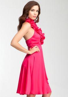Ruffle Halter Satin Dress Rose 3