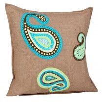 Blue and Green Paisley Washed Burlap Pillow