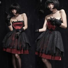 Black Burgundy Satin Lace Strapless Gothic Fashion Prom Party Dresses SKU-11402085