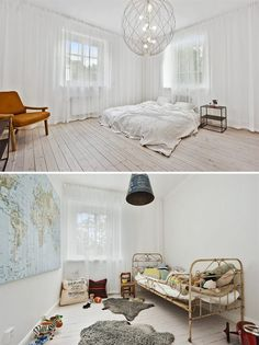 white walled home, master bedroom, interior design, children's room, map wall, fur rugs, white bed