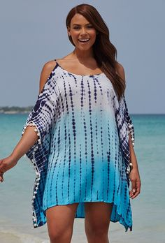 Isabelle Tunic & Swimsuits For All The post Isabelle Tie Dye Cold Shoulder Tunic appeared first on Bikini Photos. Plus Size Bikini Bottoms, Women's Plus Size Swimwear, Swimwear Sale, Swimwear Cover Ups, Swimsuit Cover Ups, Plus Size Resort Wear, Swimsuits For All, Beach Dresses, Summer Dresses