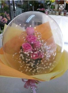 Flowers inside balloon