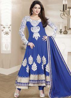 Blue Embroidery Work Georgette Designer Long Anarkali Gown Suit http://www.angelnx.com/Salwar-Kameez/Anarkali-Suits