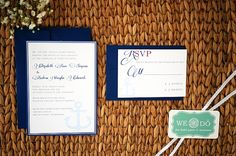 This design features a blue anchor with a touch of red. This whimsical design is elegant yet has a chabby chic rustic feel. Printed on all natural cotton paper. 5x7. Colors may be modified to your wedding colors. Set includes invitation, outer envelope, reply card, and addressed reply envelope.  http://www.etsy.com/listing/93221793/nautical-anchor-wedding-stationery-set