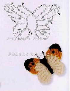 25 +> – would add the head of every little girl super cute … - Knitting and Crochet Marque-pages Au Crochet, Crochet Motifs, Crochet Diagram, Crochet Gifts, Irish Crochet, Crochet Doilies, Crochet Flowers, Borboleta Crochet, Crochet Butterfly Pattern