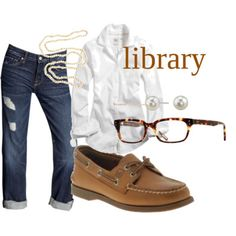 "I can't decide if I like the topsiders or the fact that it says ""library"" more. Do you leave the shirt untucked?"