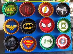 Comic Book Super Hero Magnets  bottle cap magnets by BLoDesigns, $11.00