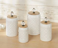 Add a fresh element to your kitchen space with the Bria Kitchen Canister Set. Finished in ivory, each ceramic canister features embossed medallion designs. Farmhouse Style Kitchen, Modern Farmhouse Kitchens, Rustic Kitchen, Vintage Kitchen, Kitchen Decor, Kitchen Ideas, Kitchen Designs, Country Kitchen, Kitchen Tools