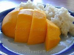 Mango on Sticky Rice Recipe - Mango on sticky rice is a traditional summer dessert because mangoes are in season during the summer months of April and May. When I think of mango on sticky rice, I think of the days when school is out--the carefree summer. Coconut Sticky Rice, Sweet Sticky Rice, Sticky Rice Recipes, Mango Sticky Rice, Coconut Milk, Thai Coconut, Coconut Water, Rice Desserts, Fun Desserts
