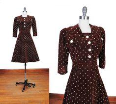 Vintage 1940s VELVET Chocolate Brown 40s WWII by NovaVintage, $218.00
