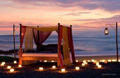 Beach at 5 star hotel: Tugu Bali Hotel. This hotel's address is: Jl. Pantai Batu Bolong, Canggu Beach Canggu Bali 80351 and have 21 rooms Best Romantic Getaways, Romantic Picnics, Romantic Beach, Beach Romance, Romantic Night, Romantic Vacations, Romantic Ideas, Romantic Backyard, Romantic Escapes