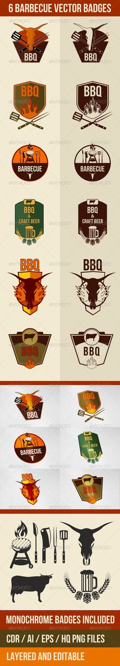 6 Vector Barbecue Badges and Emblems For download - http://graphicriver.net/item/6-vector-barbecue-badges-and-emblems/7663481?WT.ac=follow&WT.seg_1=follow&WT.z_author=defilemorality