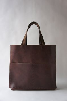 Heavy Leather Tote - Havana Brown - Unisex - Striped Straps. $375.00, via Etsy.