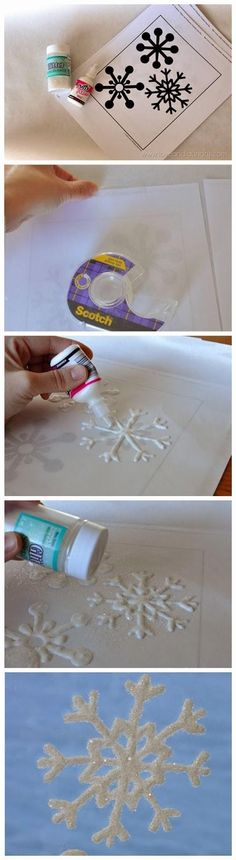 DIY Snowflakes  : DIY Glitter Snowflake Window Clings