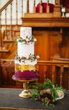 A Yorkshire wedding shoot inspired by Wuthering Heights | Burgundy and gold leaf wedding cake | bridemagazine.co.uk