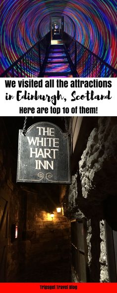 10 absolutely best attractions in Edinburgh, Scotland. Camera Obscura, Edinburgh Castle, Holyrood Palace, Royal Yacht Britannia, Mary King's Close, Edinburgh Vaults, Edinburgh Zoo, Red Panda. Travel in Europe.