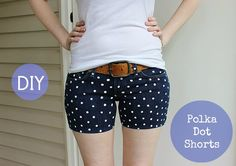 Polka dot shorts diy...would be cute for an old pair of jeans that have been cut into shorts.