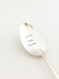 Serving Flatware Kiss The Cook,  Hand Stamped Serving Spoon For Entertaining, Hostess, Made to Order