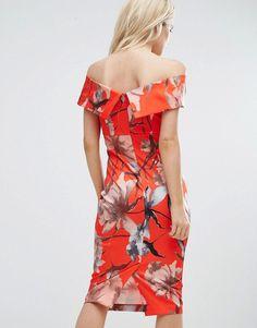 2569c5587d ASOS PETITE Bright Red Floral Bardot Pencil Midi Dress - Multi