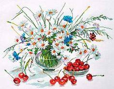 """A BRAND NEW COUNTED CROSS STITCH KIT """"DAISIES AND CHERRY"""" ALISA   #ALISA"""