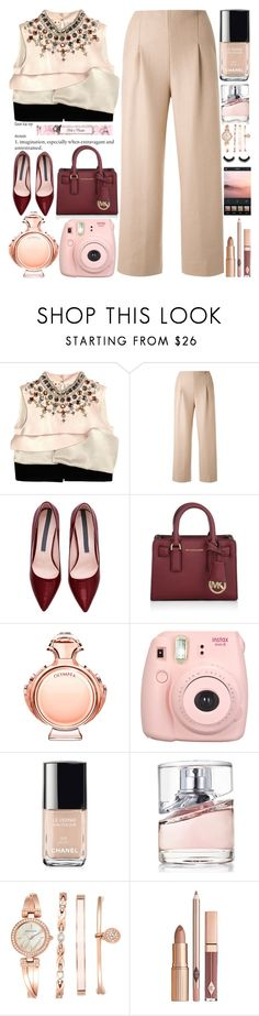 """Silk-satin and Crepe Top"" by grozdana-v ❤ liked on Polyvore featuring Marni, Chalayan, Michael Kors, Paco Rabanne, Chanel, HUGO, Anne Klein, women's clothing, women and female"