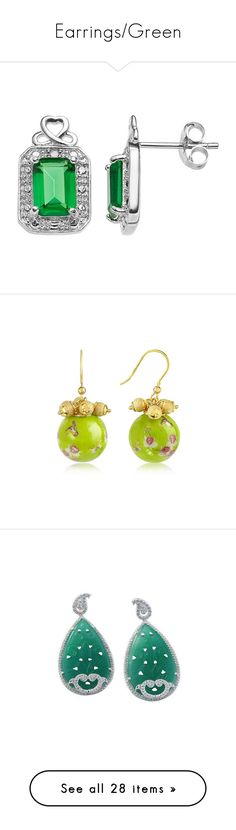"""""""Earrings/Green"""" by thesassystewart on Polyvore featuring jewelry, earrings, green, sterling silver gemstone earrings, gemstone earrings, stud earrings, sterling silver heart earrings, emerald earrings, round charm and beaded earrings"""