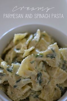 Bow tie pasta with a spinach and a creamy Parmesan sauce? Bow tie pasta with a spinach and a creamy Parmesan sauce? I've actually been making t Spinach Pasta Recipes, Creamy Pasta Recipes, Pasta With Spinach, Spinach Pasta Sauce, Creamy Sauce For Pasta, Bow Pasta Recipes, Creamy Spinach Sauce, Creamy Bow Tie Pasta Recipe, Basic Pasta Recipe