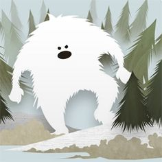 On fun holiday cards, love the wallpaper from Hooky Interactive! You have to see the full image! Cool Monsters, Classic Monsters, Yeti Bigfoot, Finding Bigfoot, Troll, Bizarre, Cryptozoology, Cute Illustration, Art Studios