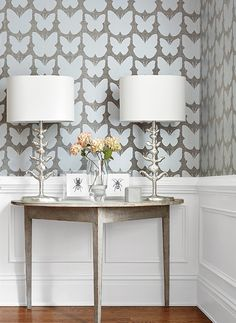 Aldora wallpaper in silver on charcoal from the Geometric Resource 2 collection by Thibaut