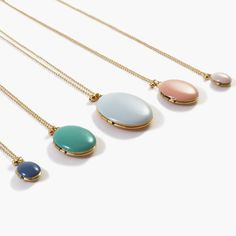 Image of Enamel Lockets in Assorted Sizes and Colors // Trois Petits Points