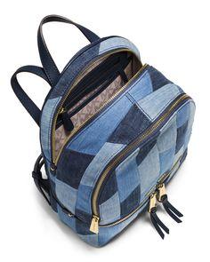 b60026431c37 MICHAEL Michael Kors Rhea Small Patchwork Denim Backpack, Multi Blue