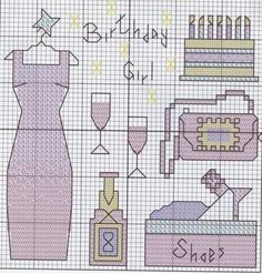 0 point de croix robe et accessoires - cross stitch accessories and dress birthday girl