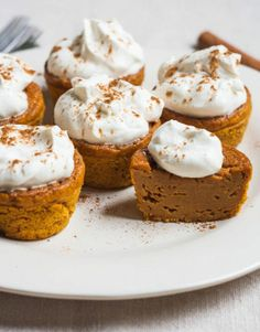 Impossible Pumpkin Pie Cupcakes with Whipped Cream.