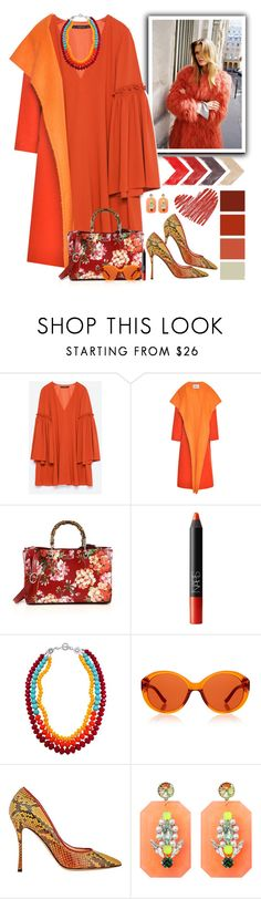 """Orange & Red"" by musicfriend1 ❤ liked on Polyvore featuring Zara, Prabal Gurung, Gucci, NARS Cosmetics, Seed Design, The Row, Nicholas Kirkwood and Miss Julie"