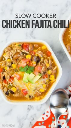 Slow Cooker Fajita Chili: he hearty ingredients come together with the mouthwatering Mexican flavor for a chili you won't be able to resist. This recipe is low-calorie, low-fat and even a good dose of protein, but our favorite part is that it's a slow cooker recipe.