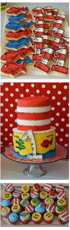 Dr. Seuss Desserts. I am thinking this may be cute for Graysons first birthday:) Baby 1st Birthday, Boy Birthday Themes, 1st Birthday Party Ideas For Boys, Boys First Birthday Party Ideas, Dr Seuss Party Ideas, Dr Seuss Birthday Party, First Birthday Cakes, Boy Birthday Parties, Birthday Cookies