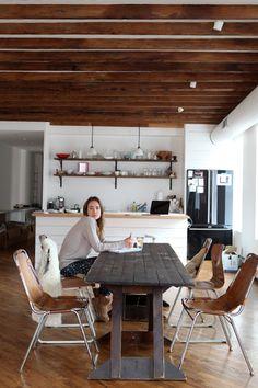 kitchen dark wood farmhouse table - apartment ideas - brooklyn townhouse decor inspiration ideas - interiors