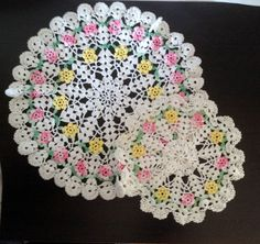 vintage Colorful Set of 2 Doilies Pink and Yellow by dollyjayne
